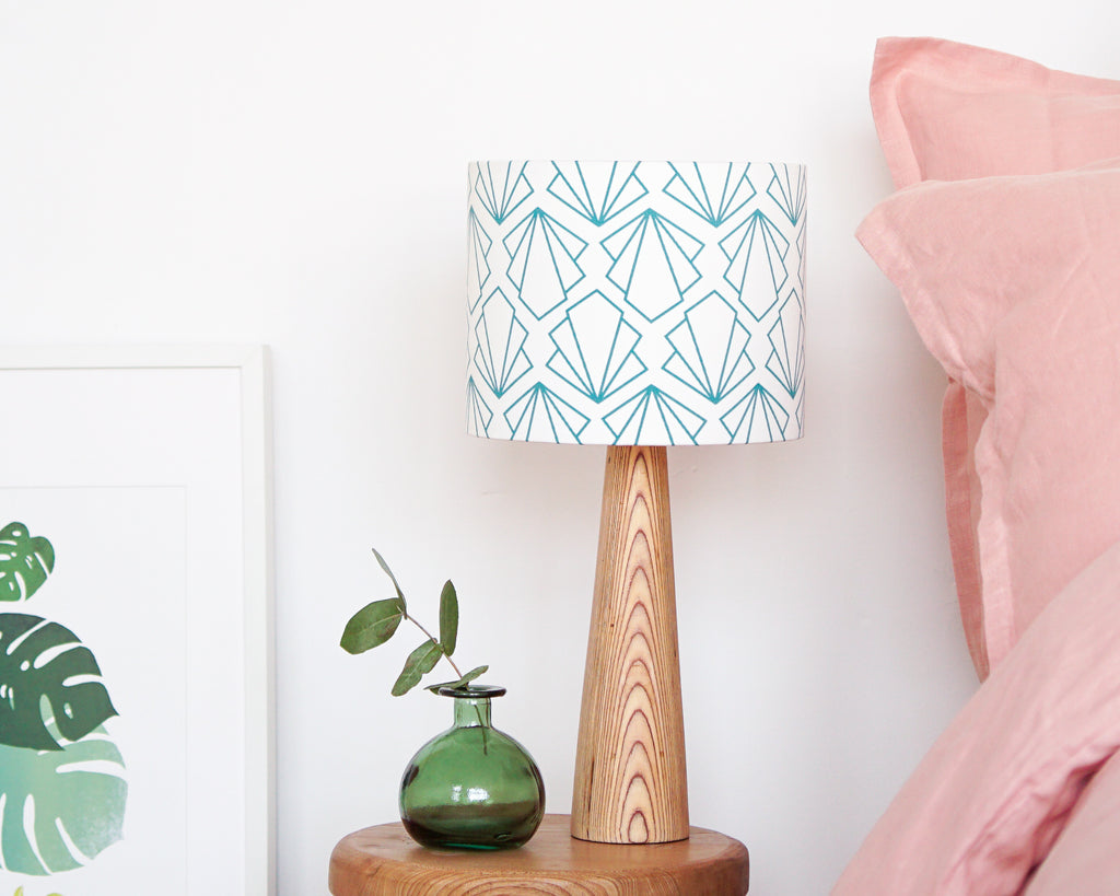 Turquoise Sunbeam Drum Ceiling Lampshade