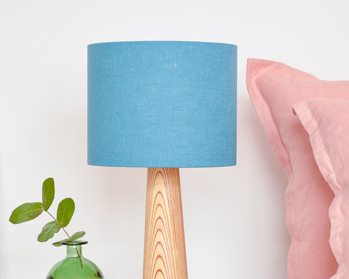 Teal Linen Drum Table Lampshade