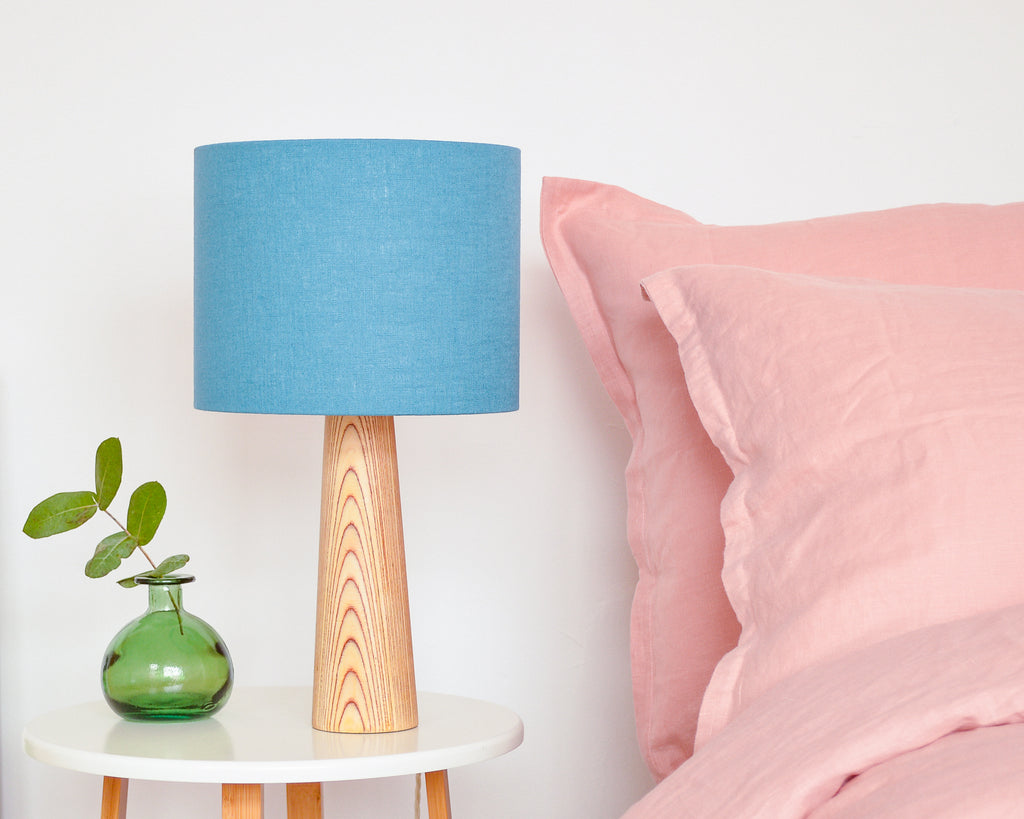 Teal Linen Drum Lampshade