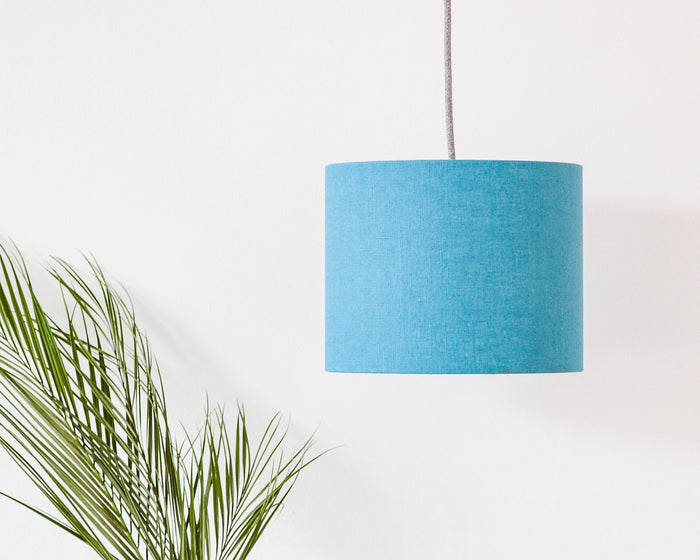 Teal Linen Drum Ceiling Lampshade
