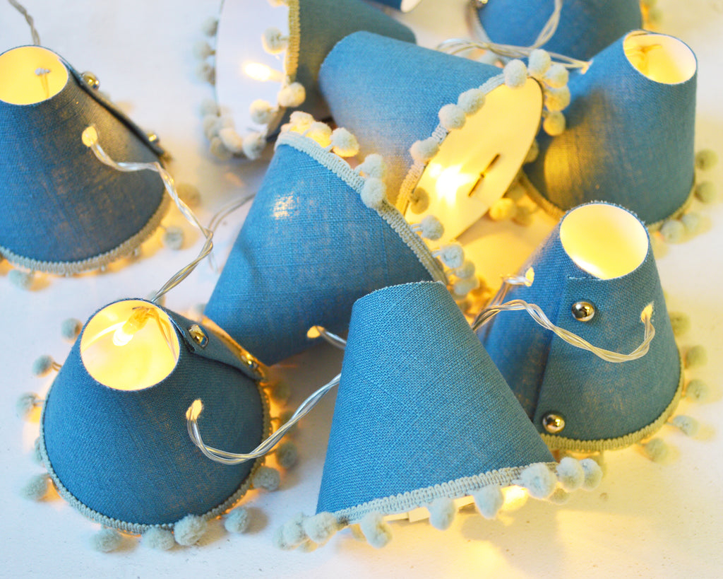 Teal Pom Pom Fairy Lights