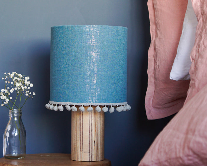 Teal Pom Pom Linen Drum Lampshade