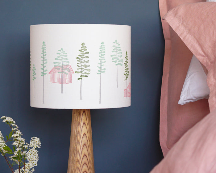 Green Trees And Cabin Drum Table Lampshade
