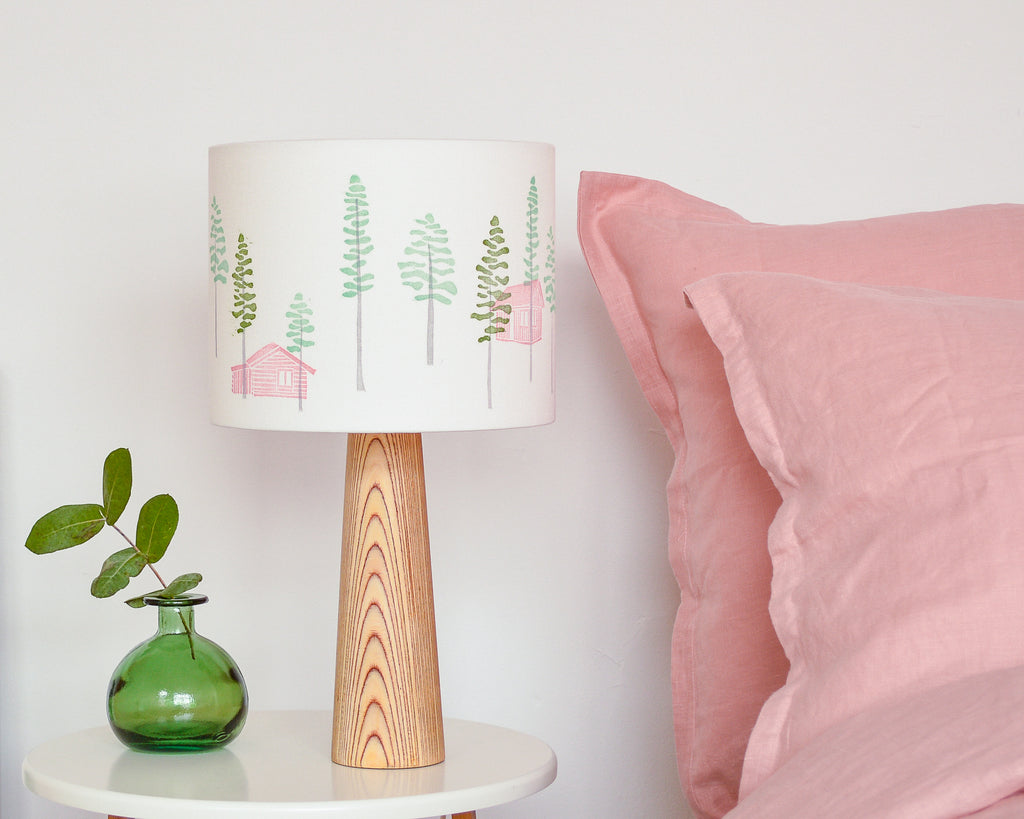 Green Trees And Cabin Drum Lampshade