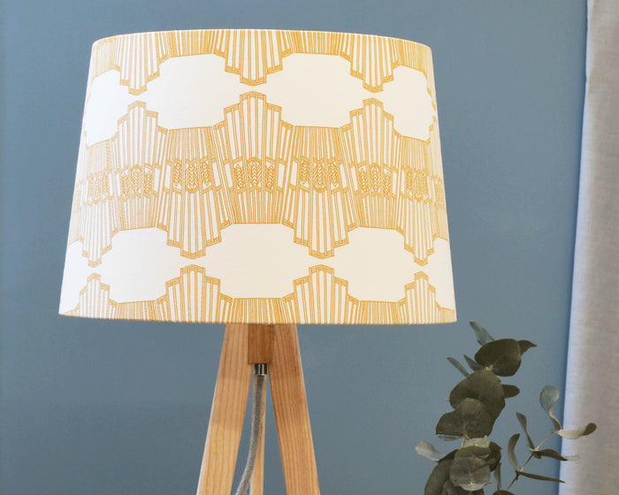 Mustard Geometric Fabric Tapered Lampshade
