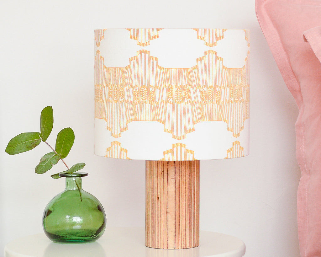 Mustard Ornamental Wave Drum Table Lampshade