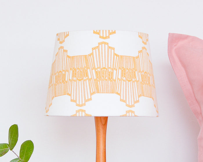 Mustard Ornamental Wave Tapered Lampshade - Lume + Joanna Corney