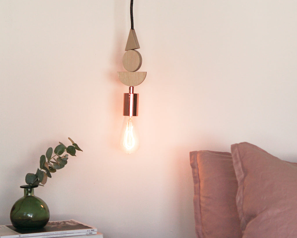 Natural Wood And Copper Shapes Pendant Light