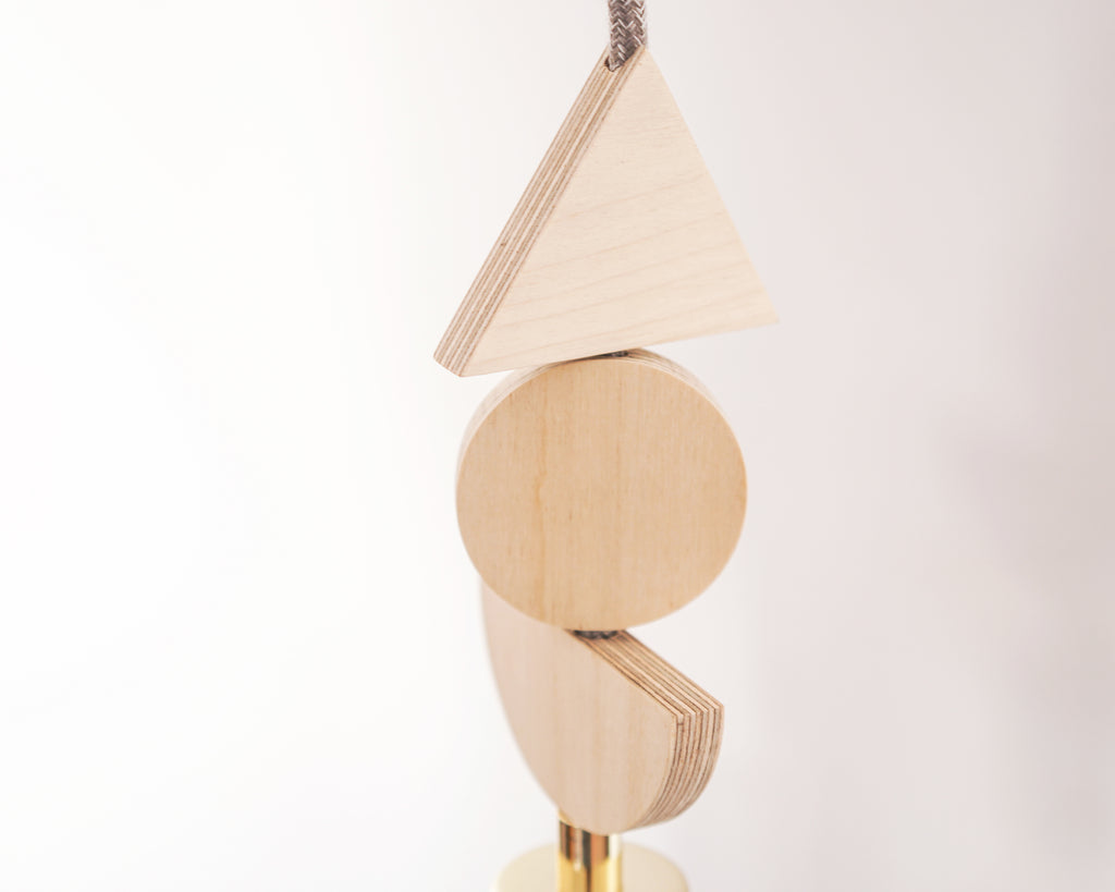 Natural Wood And Brass Shapes Pendant Light
