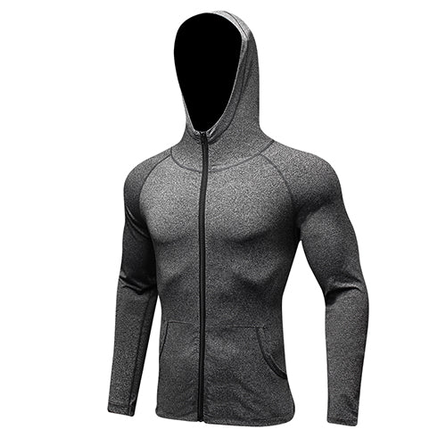 Men's Long Sleeve Sport Hat+Zipper Running Shirt