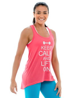 Keep Calm High-Low Tank Top *Shock Pink