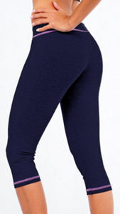 CONTRASTING COLOR SEAM FITNESS CAPRI
