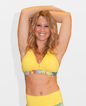 Yellow Snake Print Sports Bra