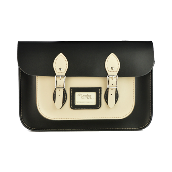 "Satchel de 12.5"" Charcoal Black & Cloud Cream - Bolso de Cuero colour blanco y negro"