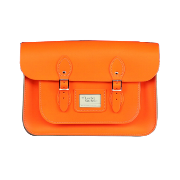 "Satchel de 14"" Dayglow Orange - Bolso de Cuero Neon Naranja"