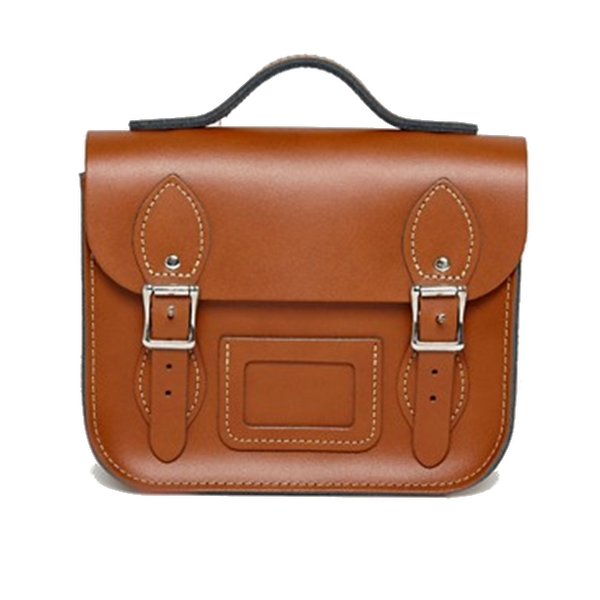 Mini Satchel de London Tan - Bolso de cuero de color maron con Bolt-on manija y correas de hombro