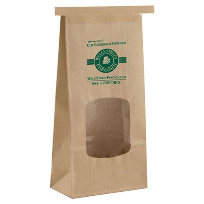 Natural Kraft Coffee Bag 1 Pound with window - 4.5 x 2.5 x 9.75