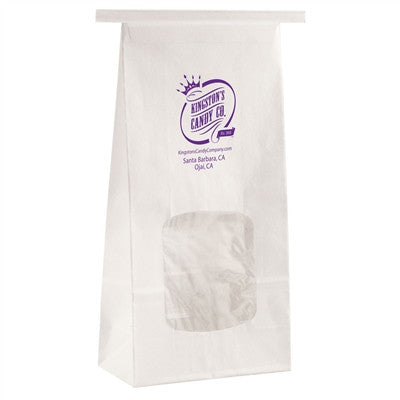 White Gloss Coffee Bag 1 Pound with window - 4.5 x 2.5 x 9.75