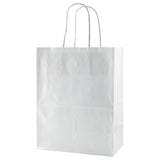 Gloss Coated White Shopping Bag Chimp - 8 x 4.75 x 10.5 x 4.75