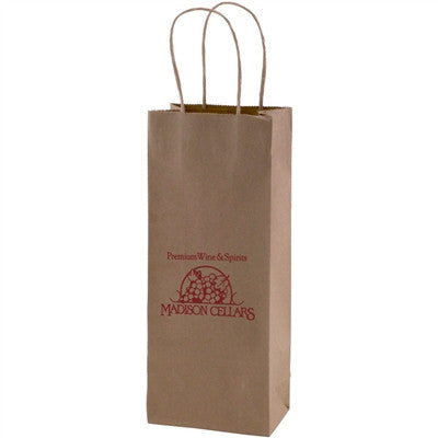 Natural Kraft Shopping Bag Vino - 5.25 x 3.25 x 13 x 3.25