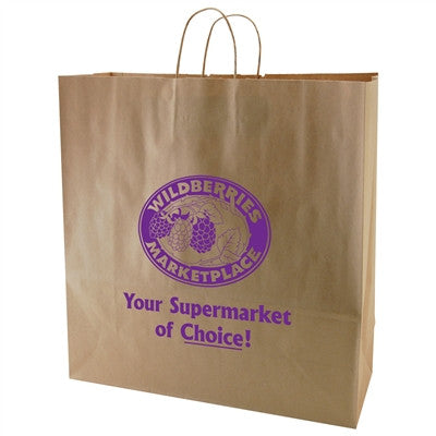 Natural Kraft Shopping Bag Hippo - 18 x 7 x 18.75 x 7
