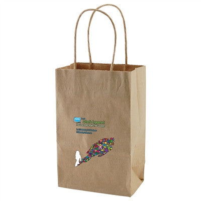 100% Recycled Content Natural Kraft Shopping Bags Toucan - 5.25 x 3.25 x 8.5 x 3.25