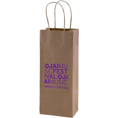 100% Recycled Content Natural Kraft Shopping Bags Vino - 5.25 x 3.25 x 13 x 3.25