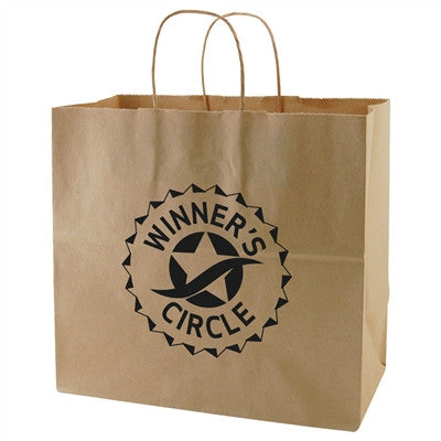 100% Recycled Content Natural Kraft Shopping Bags Cobra - 13 x 7 x 12.5 x 7