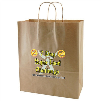 100% Recycled Content Natural Kraft Shopping Bags Gazelle - 13 x 6 x 15.75 x 6