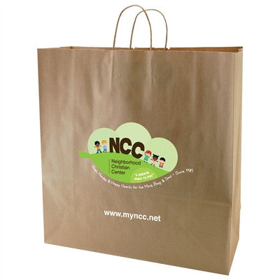100% Recycled Content Natural Kraft Shopping Bags Hippo - 18 x 7 x 18.75 x 7