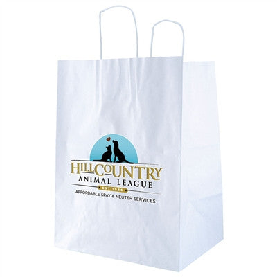 White Kraft Shopping Bag Outback - 12 x 9 x 15.75 x 9