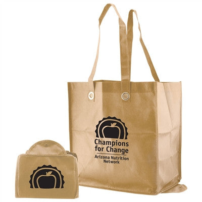 "Non-Woven Folded Snap Tote - 12 x 8 x 13 x 8, 20"" Handle"