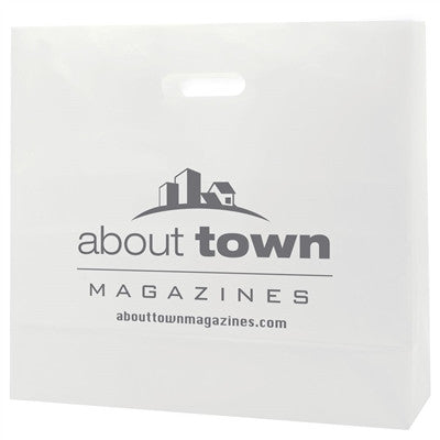 Clear Frosted Die Cut Totes  - 16 x 6 x 15 x 6