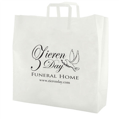 Clear Frosted Tri-Fold Handle Shopping Bag - 17 x 7 x 18 x 7
