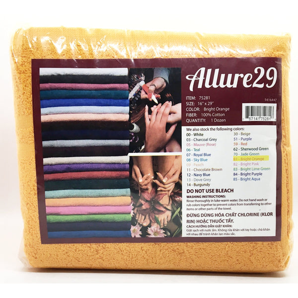 Allure Towels - BRIGHT ORANGE 16″ x 29″