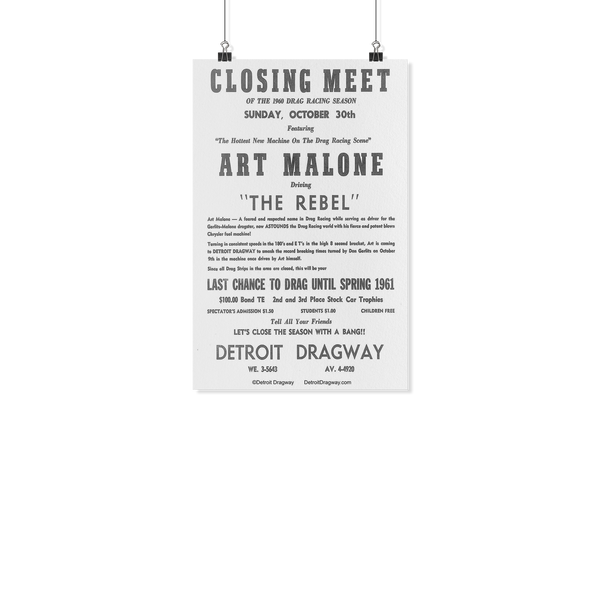 Detroit Dragway® Closing Meet Art Malone Poster