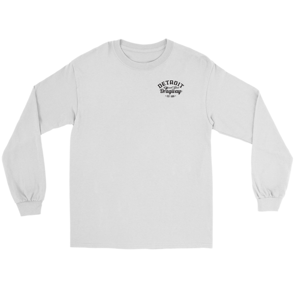 Detroit Dragway® Run What You Brung Gasser Long Sleeve T-Shirt Black Font.