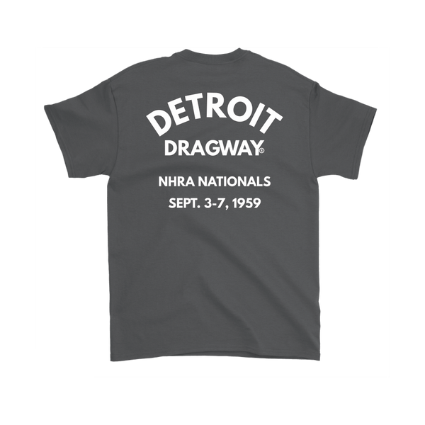 Detroit Dragway® NHRA 1959 Nationals Short Sleeve T-Shirt White Fonts
