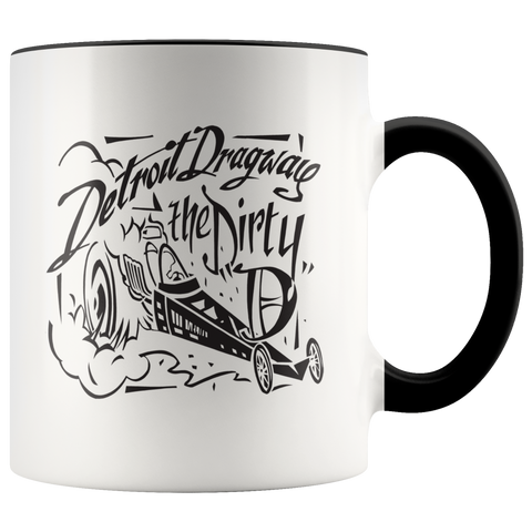 Detroit Dragway® Dirty D & Dragster Accent Mug
