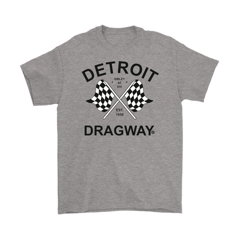 Detroit Dragway® Checkered Flags Short Sleeve T-Shirt Image on Front