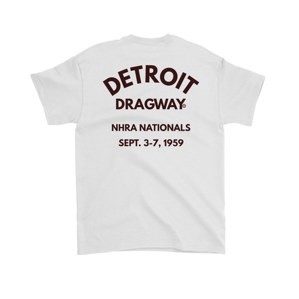 Detroit Dragway® NHRA 1959 Nationals Short Sleeve T-Shirt Black Fonts