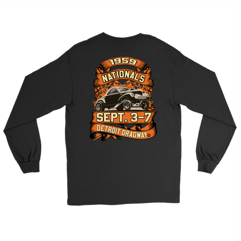 Detroit Dragway® 59 Nationals Long Sleeve T-Shirt  Image On Back