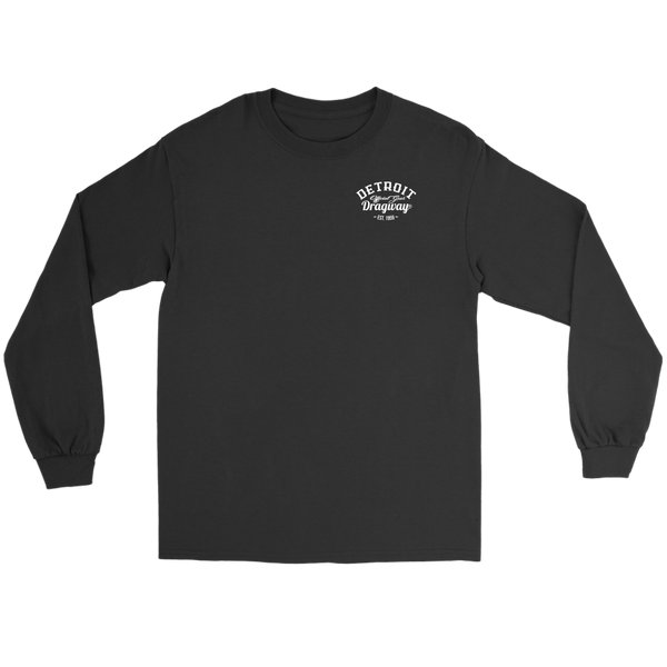 Detroit Dragway® Staging Tree Long Sleeve T-Shirt  Image On The Back