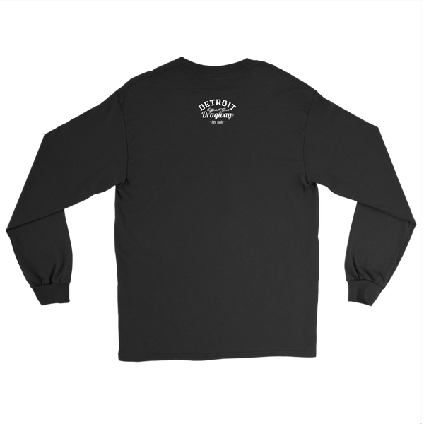 Detroit Dragway® Crossed Pistons Long Sleeve T Image On Front White Print