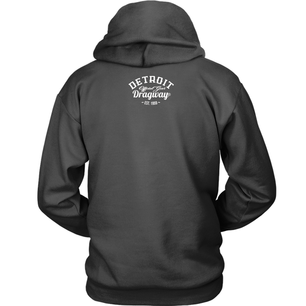 Detroit Dragway® Checkered Flags Long Hoodie Image On Front
