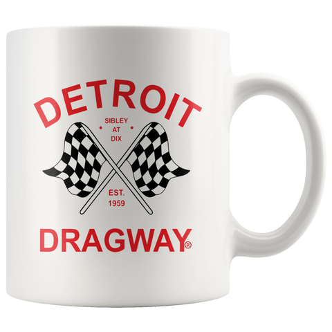 Detroit Dragway Flags Red Print 11 oz Coffee Mug