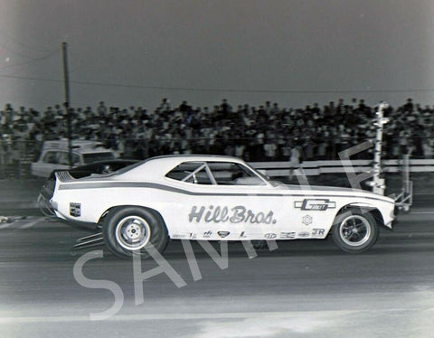 "8 x 10"" B&W Photo Of The Hill Bros. Funny Car"