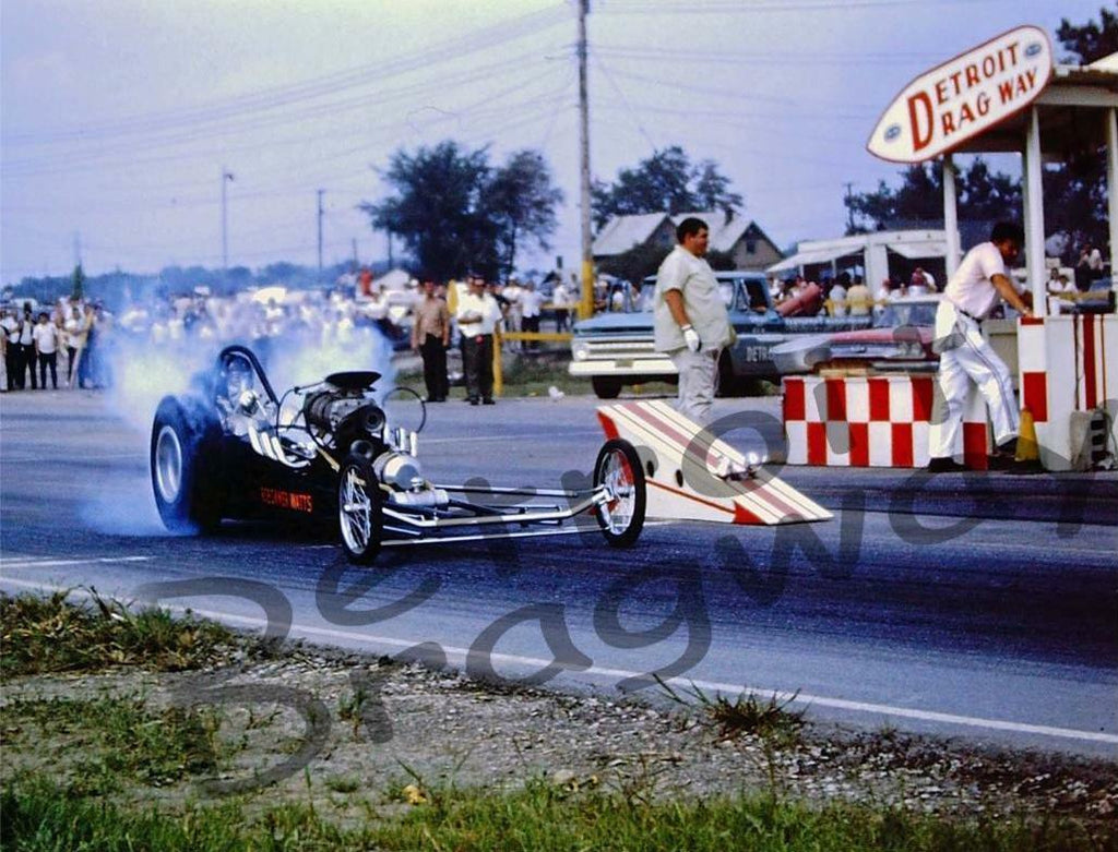 "8 x 10"" Glossy Color photo of a Dragster Racing at Detroit Dragway"