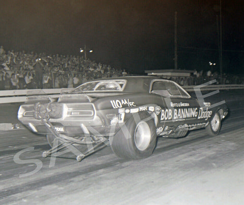 "8 x 10"" B&W Photo Of The Bob Banning Dodge Funny Car"