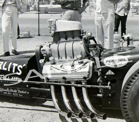 "8 x 10"" Big Daddy's Swamp Rat 111 at Detroit Dragway® 7-63 Made from Negative"